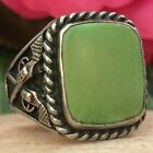 RARE 1950s VINTAGE NATIVE AMERICAN NAVAJO STERLING CERRILLOS TURQUOISE RING SZ10