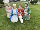 Vintage 5 Piece Christmas Nativity Blow Mold With Jesus Free Shipping