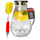 72 ounces Glass Water Pitcher Heat Resistant Borosilicate Glass with FREE Brush