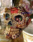 JAY STRONGWATER 45 TALL SKULL WITH BUTTERFLIES GLASS ORNAMENT NEW BOX
