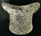Vintage Press Glass Daisy and Button Pattern Top Hat Ice Bucket Vase