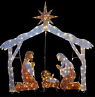 Christmas 55 Lighted Gold Nativity Scene Display Sculpture Outdoor Yard Decor