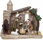 Christmas Indoor Decor 14 LED Nativity Set Hand Painted Polyresin Figurine