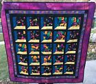 Frog Theme Quilt 45x45 Quality Quilt Fabrics Stitch In The Ditch Black Binding