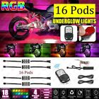 16x Motorcycle LED Underglow Light Kit Remote Control Multi Color Neon Strip