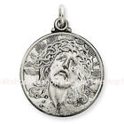 Sterling Silver 925 Round Flat Christ Head Face of Jesus Charm Medal Pendant