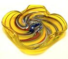 Art Glass Dish or Ashtray Handkerchief Edge Yellow with Multicolor Swirl