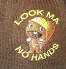 Vintage Hot Topic BEAVER Look Ma No Hands Brown Winter Hat Beanie OS Cap Workman
