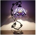1 Stained Glass Reading Lamp Table Light Blue Purple Desk Baroque Tiffany Style