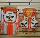 BEADED EAGLE DESIGN NATIVE AMERICAN INDIAN VEST CUFFS HEADBAND AND APRON SET