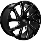 4 20 Staggered Lexani Wheels Ghost Black with Machined Accents Rims B44