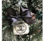 Luxury Glass Christmas Ornament Square Set Of 6 Pearls  Diamonds Black Bow