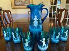 RARE Blue Mary Gregory pitcher and 6 piece tumbler set in mint condition