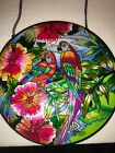 Beautiful Amia Hand Painted Stained Glass Large 10 In Parrots Very Colorful
