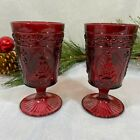 VINTAGE Inspired Red Christmas Tree Goblets Drinking Glasses SET 4 NEW