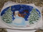 PEGGY KARR FUSED GLASS CHRISTMAS WINDY SNOWMAN LARGE PLATE TRAY 17 NEW IN BOX