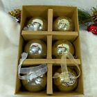 Kugel Vintage Style Silver  Gold Blown Mercury Ball Ornaments SET 6 New Box B