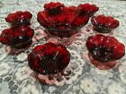 Vintage Ruby Red Glass Scalloped Edge Berry Bowl Set 8 Pieces Anchor Hocking vtg
