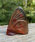 Lalique Crystal Butterfly Figurine Amber Hand Painted Signed