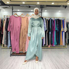 Satin Abaya Dubai Maxi Dress Women Muslim Long Party Gown Jilbab Islamic Kaftan