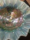 Fenton Ice Blue Console Set Opalescent Teal Carnival Glass Bowl Candle