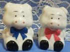 Adorable Pair of Piggies Pig Salt and Pepper Shakers Red and Blue Bows