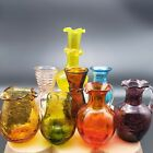 Lot of 8 Mid Century Vintage Crackle Glass Mini Bud Vases and Pitchers Creamers