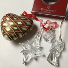 WATERFORD Holiday Heirlooms Blown Glass Heart + 3 Crystal Christmas Ornaments