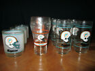 Miami Dolphins Vintage Coca Cola and Mobil NFL Glasses Glassware Set of 13