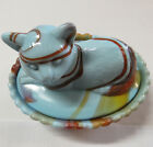 Art Glass Cat on a Nest Red Orange  Blue Slag Swirl Glass Covered Candy Dish
