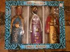 Vintage 3 Three Kings Wisemen Magi Paper Mache Japan Nativity Candle Holders