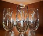 3 Mikasa Crystal CALLA LILY Cut  Etched Highball Old Fashioned Glasses tumblers