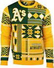 FOCO Oakland Athletics MLB Men's Patches Ugly Sweater, Green Gold