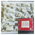 Holiday Home Accents 13 Piece Jade Porcelain Nativity Scene Gold Trim White