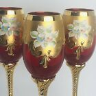 BOHEMIAN Crystal 3 Cranberry Red Wine Glasses Enameled Flowers Gold Encrusted