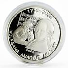 Benin 1000 francs 250th Birth of Wolfgang Mozart proof silver coin 2005
