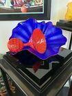 Dale Chihuly 1941 Two Part Glass Sculpture Lapis Persian Pair Signed