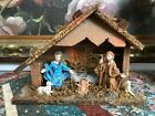 Antique Made in Italy Nativity Wooden Stable Baby Jesus Rubber Figures 95x7x4