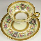 LIMOGES MARSHALL FIELD CHICAGO ROSES GOLD ENCRUSTED LUSTER TEA CUP  SAUCER S