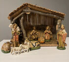 VINTAGE SEARS NATIVITY SET 9 FINELY CRAFTED CERAMIC FIGURES  STABLE No BOX