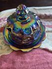 Small Moser Carnival Blue Glass Butter Dish