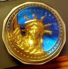 Statue of Liberty Glass Paperweight Meadow Mountain Designs Pewter Gold Signed