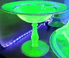 Vaseline Uranium Glass Canary Yellow Green Compote Twisted Stem Tazza Bowl Trim