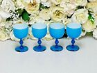 4 Carlo Moretti Empoli Murano Italy Bright Blue Cased Wine Glass