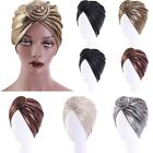 Muslim Womens Metallic Color Turban Hat Knot Twist Bonnet Arab Islamic Chemo Cap