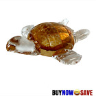 AMBER GLASS TURTLE FIGURINE PAPERWEIGHT
