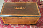 19th C SWISS CYLINDER MUSIC BOX WITH Swan INLAYS OF WOOD AND WITH BELLS LOOK