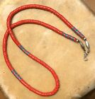 NATIVE AMERICAN ANTIQUE TRADE BEAD NECKLACE SILVER 925 NAVAJO BENCH MADE BEADS