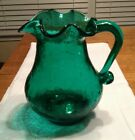 Pilgrim Vintage Hand Blown Crackle Glass Blue Green Vase Ruffle Top with Handle