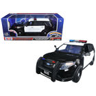 2015 Ford Police Interceptor Utility Black and White with Flashing Light Bar